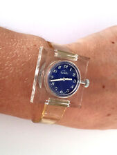 CHATEAU WIND UP LADIES MANUAL WRIST WATCH BLUE DIAL TRANSPARENT BAND CASE RUNS