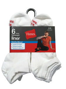 Hanes ComforBlend Men's Liner 6 paris  socks size 6-12 Lightweight WHITE