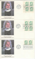 SSS: 3 pcs Fleetwood FDC 1986 17c Belva Ann Lockwood, Great Americans  Sc #2178