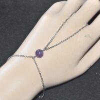 Chaîne de main bracelet bague acier inoxydable Améthyste violet bijou