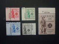 1941 #PS11-PS 15 Postal Savings Stamp Plate # Singles  MNH OG VF CV $185