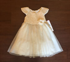 """NEW """"CHAMPAGNE GOLD ROSE"""" Dress Girls Kids 5 Christmas Boutique Clothes Holiday"""