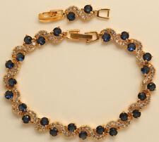 14K YELLOW GOLD FINISH DIAMOND 2CT TENNIS BRACELET S-LINK EXTENSION LOCK