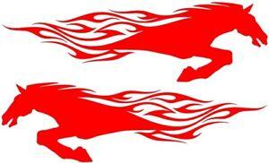 "2x LARGE 23"" horsebox stickers horses flames van graphics decals horse racing"