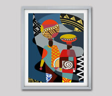 Traditional African Art Poster Painting Cubist Abstract Colorful Decor 8x10