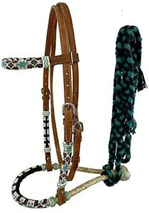 Beaded Bitless Show Hackamore Rawhide Bosal Mecate Complete Set New Horse Tack