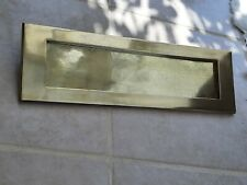 """EXTRA LARGE sprung solid brass letter box postal plate cover Victorian 16"""" x 5"""""""