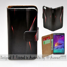 Wallet Phone Case Flip Cover for Samsung Galaxy Note 4 - Black Polygon Infra Red