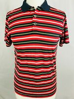 Nike Golf Polo Womens Size Large Red Stripe Pattern Dry Fit (L