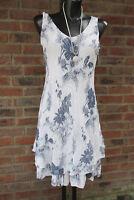Knielang Kleid Trägerkleid Hippie Blau-Weiß Volant Blumen 36-38-40 Lagenlook