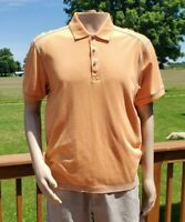Tommy Bahama Jeans Island Crafted Men's L Mens Large Orange Polo Shirt EUC