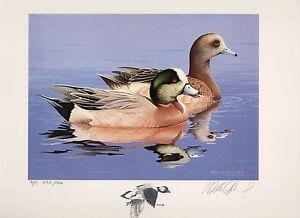 1984 Fédéral Canard Tampon RW51 Widgeon Peinture Imprimé Par William Morris Anti