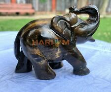 Natural Tiger Eye Gemstone Trunk Up Elephant Sculpture Handmade Home Decor Art