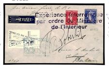 FRANCE Cover Air Mail ROCKET CRASH MAIL *INTERROMPU* Calais Signed 1935 U165a
