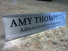 Personalized desk name plate silver aluminum Holder with silver look insert 2x10