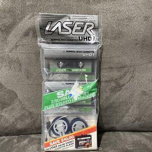 NOS Laser Cassette Tapes & Headphones C90 UHDI