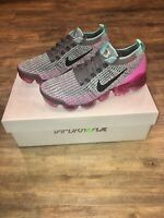 New Nike Air VaporMax Flyknit 3 Gunsmoke Fuchsia Size 6.5 Women's Running Shoes
