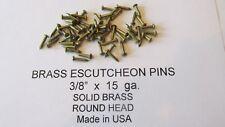 """ESCUTCHEON PINS SOLID BRASS  300 pcs. 3/8"""" X 15 ga. U.S.A. WOOD / LEATHER new"""