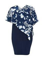 Evans Grace Monochrome Overlay Chiffon Dress - Navy & White  BNWT - Plus size 28