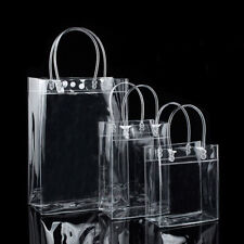 10x PVC Clear Gift Handle Bag with Button Wine Packaging Handbag for Party Favor