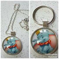Dumbo Keyring Necklace Pendant Keychain Disney Style Key Ring Silver Colour Kids