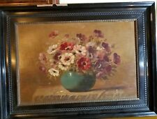 TILLY MOES Listed Modern  Realism Floral Oil Painting signed