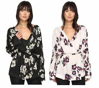 Free People Women Tuscan Dreams Tunic Floral Print Long Sleeve Top Shirt S M L