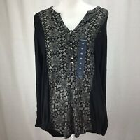 Lucky Brand Women Printed Henley Top Black Multi XL K0337