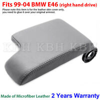 Leather Armrest Console Lid Cover Skin for BMW E46 3 Series 99-05 Light Gray RHD