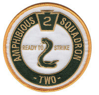 """4"""" NAVY PHIBRON 2 AMPHIBIOUS SQUADRON EMBROIDERED PATCH"""