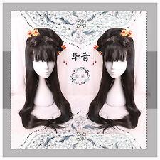 Classical Vintage Chinese Style Elegant Sweet Lolita Princess Black Cosplay Wig#