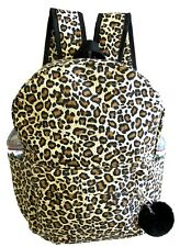 """Lady's 16"""" Cotton Canvas Backpack School Casual Travel Bottle Key Ring -Leopard"""