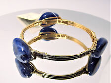 ~Handmade Howlite Lapis and Gold Wire Bracelet - US SELLER!