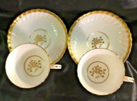 Set Of 2 Minton Gold Rose Coffee Tea Cup And Saucer H-4680