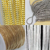 2/5M Silver Gold Plated Metal Round Beads Ball Chain Jewelry Making DIY Acces