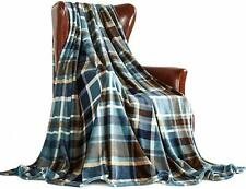 "Plush Blanket Queen 90"" x 90"" Blue Plaid Soft Warm Blanket Throw Fleece"