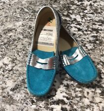 NWOB Naturino Children's Shoe Sz 2.5M Teal Navy Suede Patent Leather Loafer