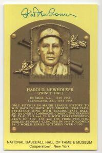 Hal Newhouser - Baseball Hall of Fame - Autographed Yellow HOF Plaque Postcard