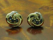 14kt 585 Gelbgold Ohrstecker mit Diamant & 0,42ct Saphir Besatz / Ohrringe