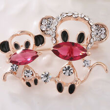 Monkey Brooch Pin Child Girl Jewelry Fashion Shiny Cute Gold Crystal Double