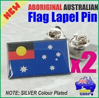 TWO (2) Aboriginal Australian Flag Hat Tie Lapel Pins Souvenir Support Gift