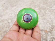 19c Rare Handmade Silver Fitted Royal Green & Pink Lacquered Wooden Yo-Yo Toy