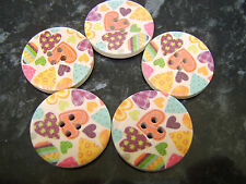 30mm 10 Pretty Carnation Flower Design Wood Buttons Sewing Free UK P/&P 3cm