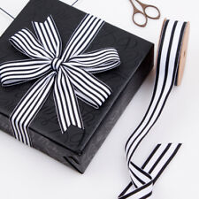 2 meters Black and White Striped Grosgrain Ribbon Gift wrap decor 25mm wide
