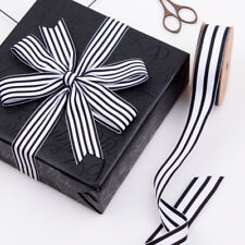 2 meters LaRibbons Black and White Striped Stripes Grosgrain Gift wrap Ribbon