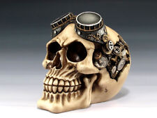 Collectible Steampunk Skull Handpainted Resin Statue Gears Wheels Brain Goggles