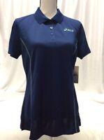 Asics POLO SHIRT Women's Athletic Golf Shirt, Blue, Size M,Retail $46