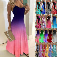 Womens Boho Summer Holiday Sundress Ladies Party Maxi Strappy Long Sling Dress