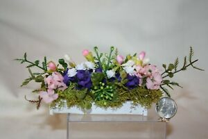 Miniature Dollhouse Vintage Wood Window Box w Assorted Flowers 1:12 NR