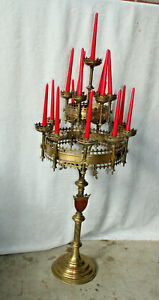 "Majestical 52"" Church Brass Copper Candelabra neo gothic rare religious"